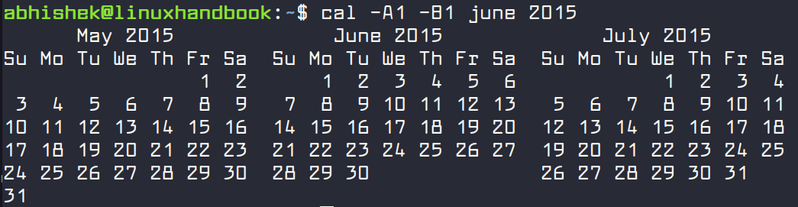 Specify range of months in calendar in Linux
