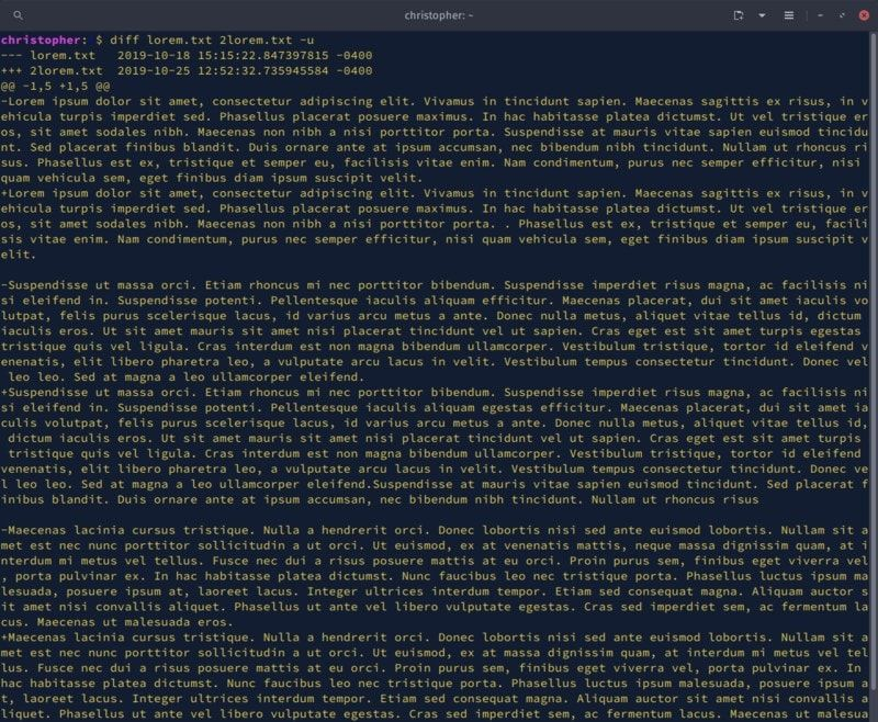 Diff command with large text files