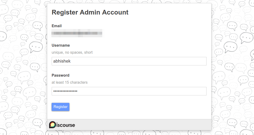 Register the admin account on the Discourse forum