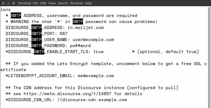 Discourse SMTP Settings