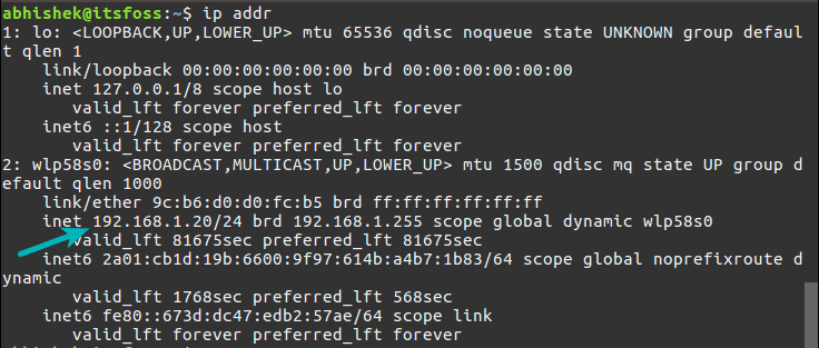 Display IP address in Linux