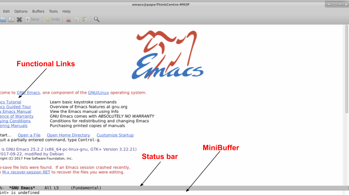 Understand the basic layout of Emacs