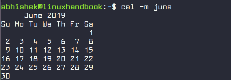 Month view of calendar with cal command in Linux