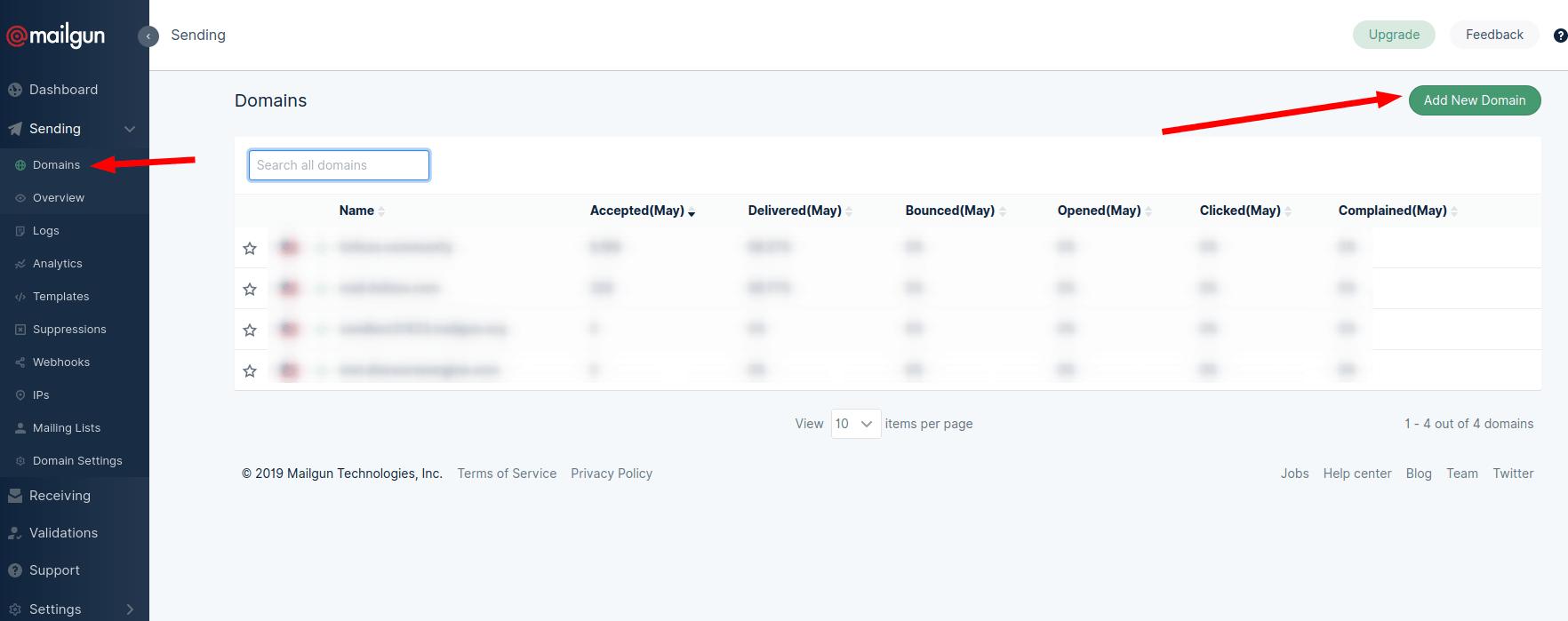 Setup SMTP in Mailgun