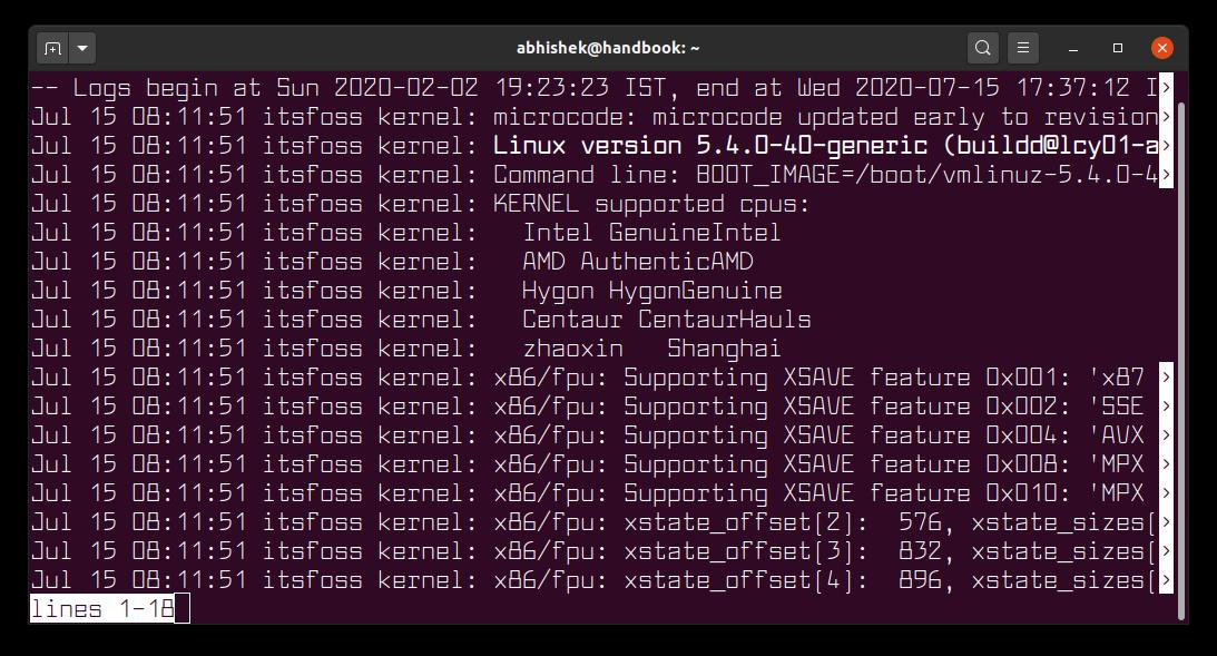 journalctl kernel logs