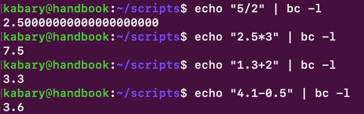 modulo operator in bash script