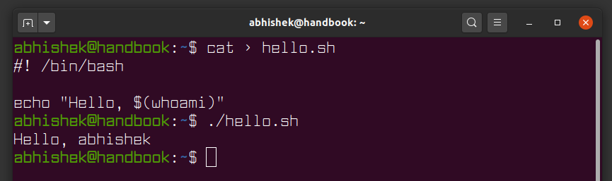 Using command substitution in bash shell script
