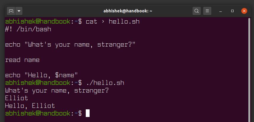 Variables in shell script