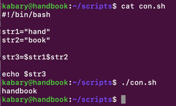 Concatenate strings in bash shell