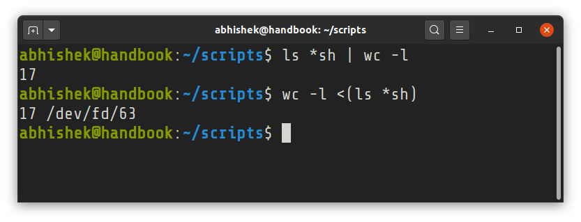 bash process substitution example