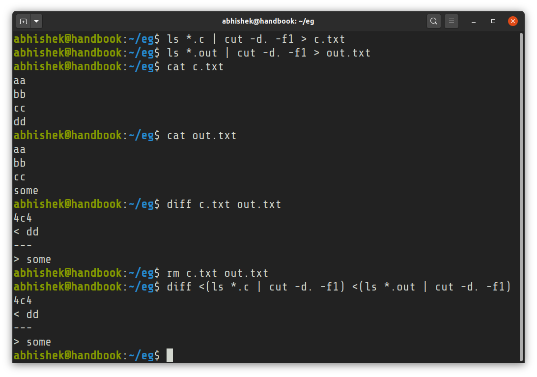 example of bash process substitution
