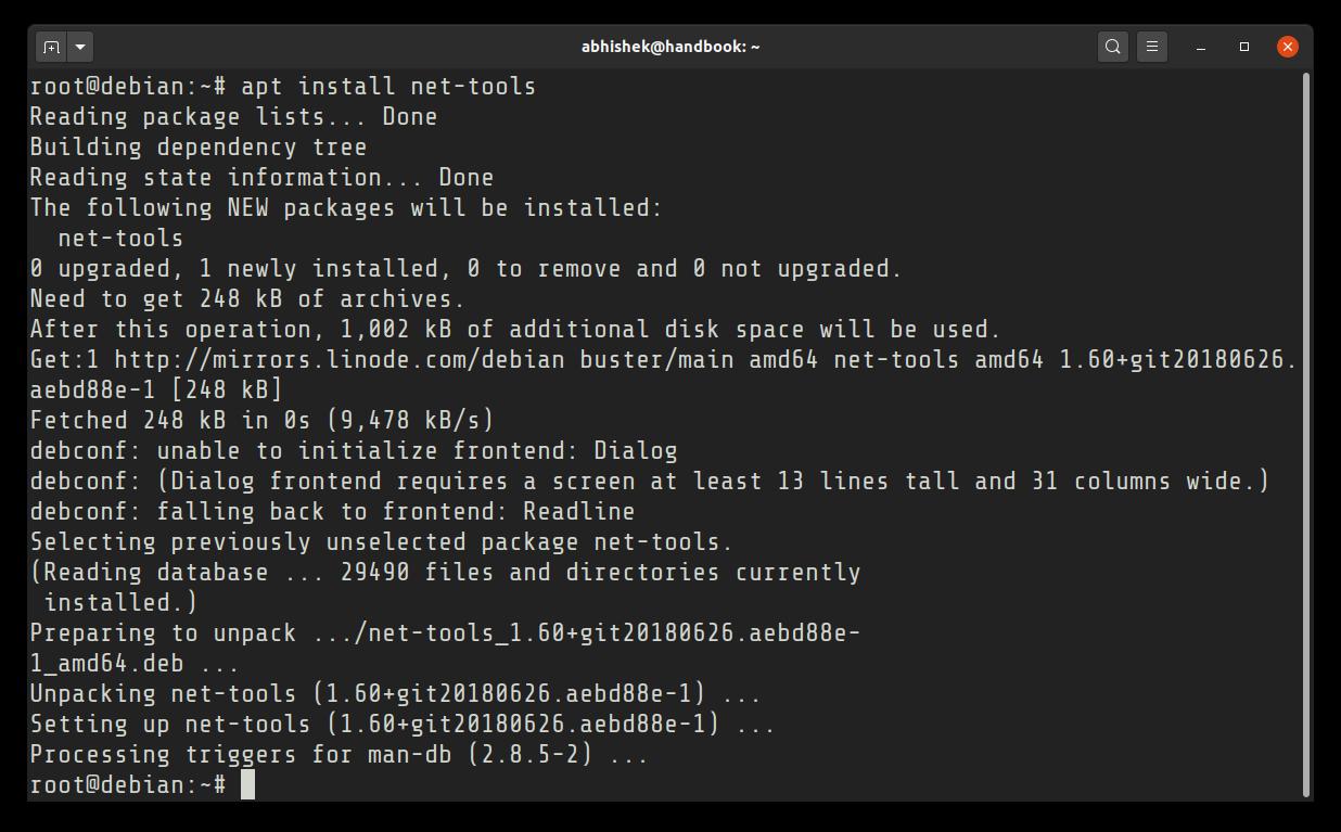 Installing ifconfig on Debian