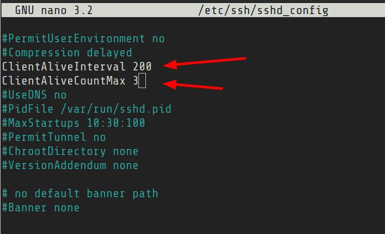SSH idle timeout setting
