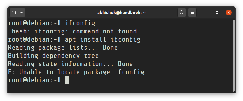 Unable to locate package ifconfig in Debian