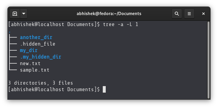 Show number of files in current directory in Linux using the tree command