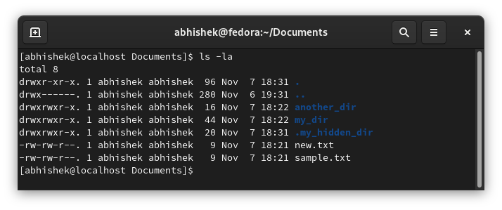 Listing the content of a directory in Linux