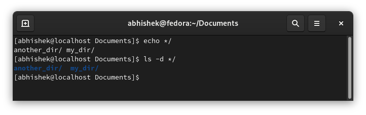 Using echo command to list directories only in Linux command line