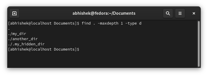 List sudirectories only with find command in Linux