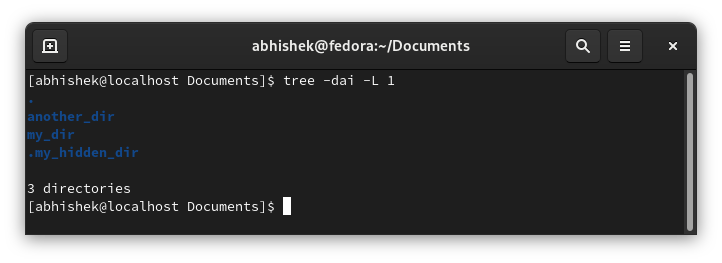 Using tree command to list only subdirectories in Linux