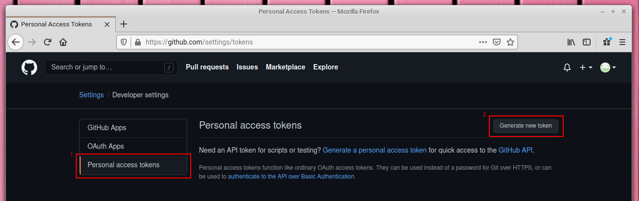 Personal access token in GitHub