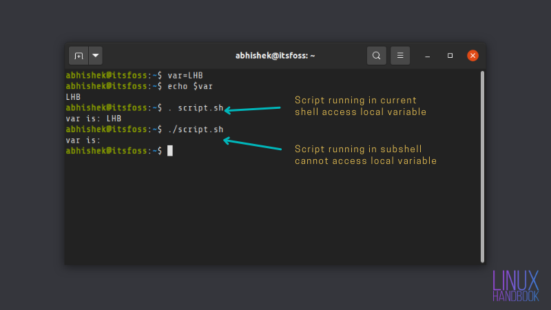 Running shell script in current shell instead of subshell