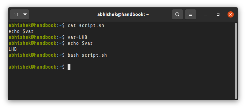 Shell scripts run in their own subshell