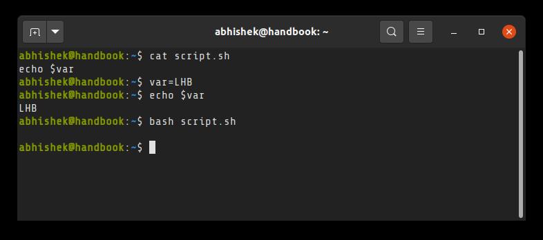 Shell scripts run in their own subshell