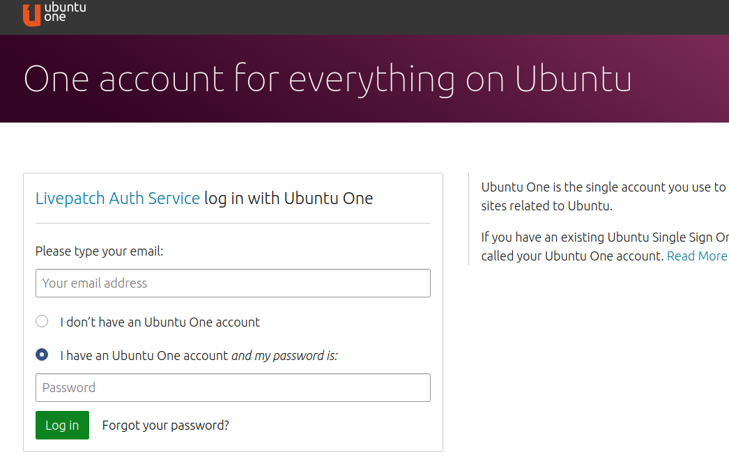 Ubuntu One account login
