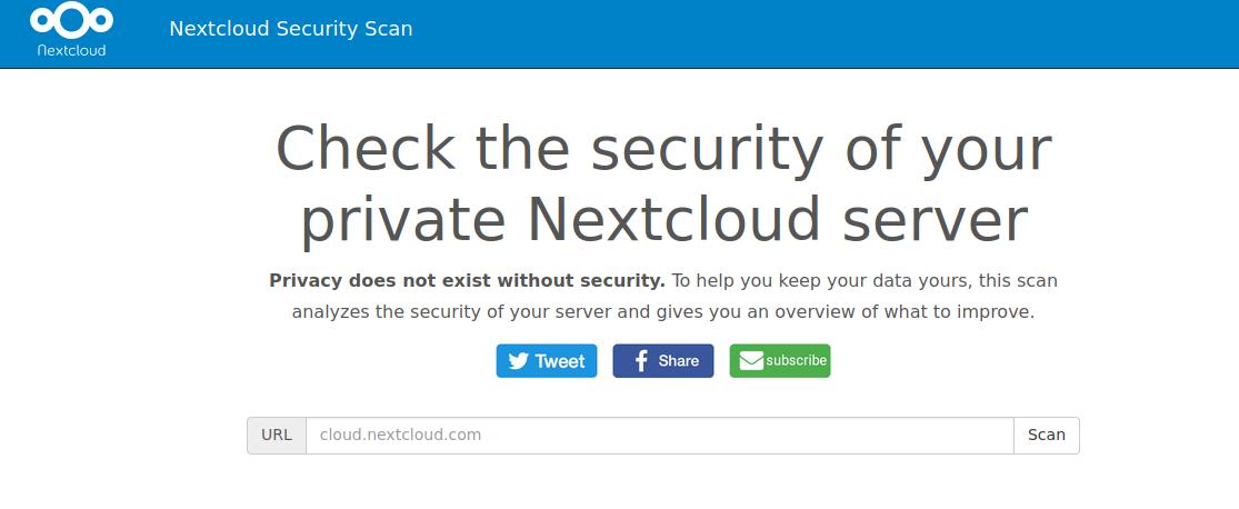 Nextcloud server security scan