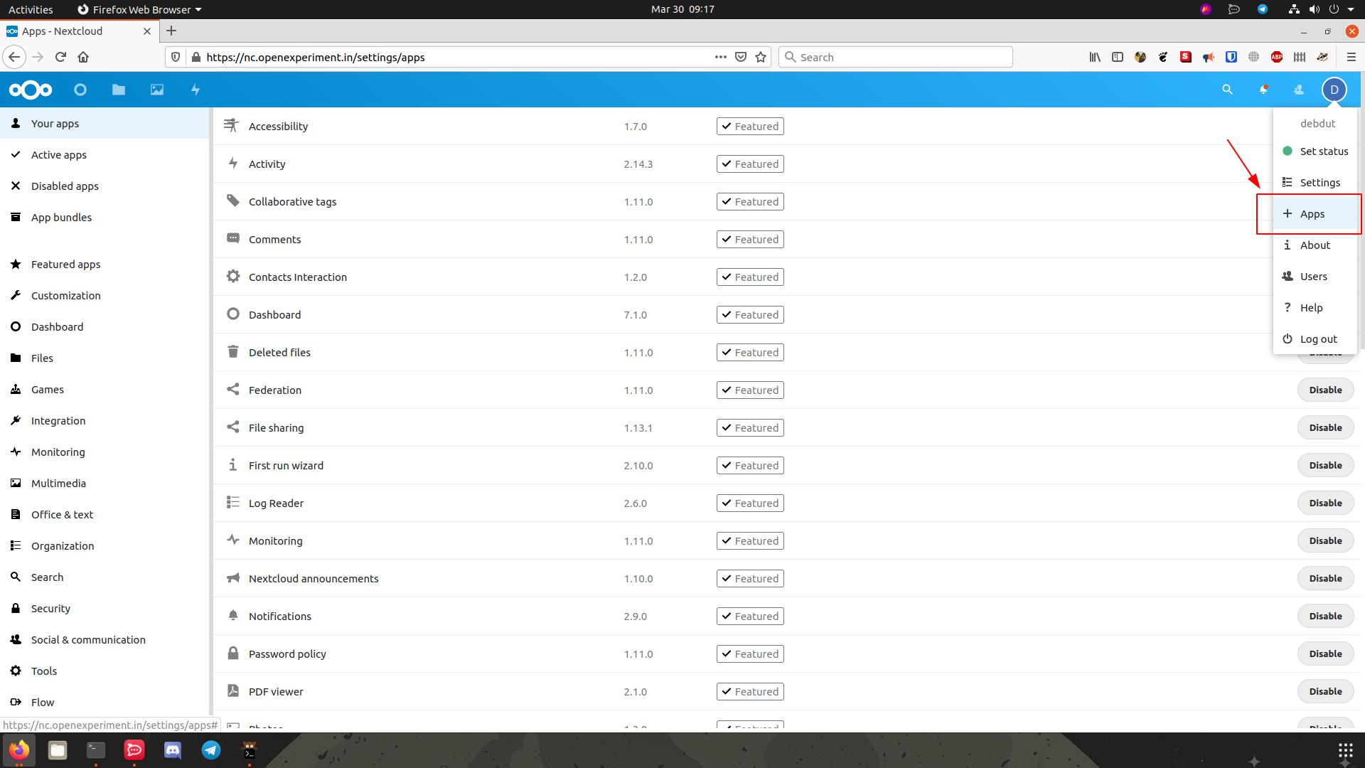 App List for Nextcloud