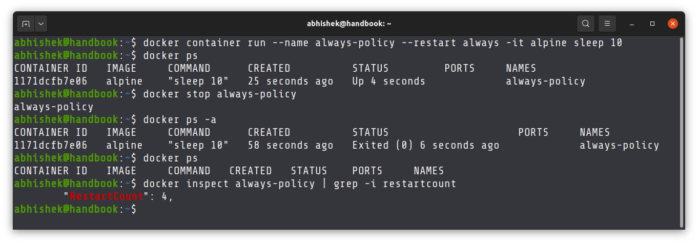 Exmple of always restart policy in docker