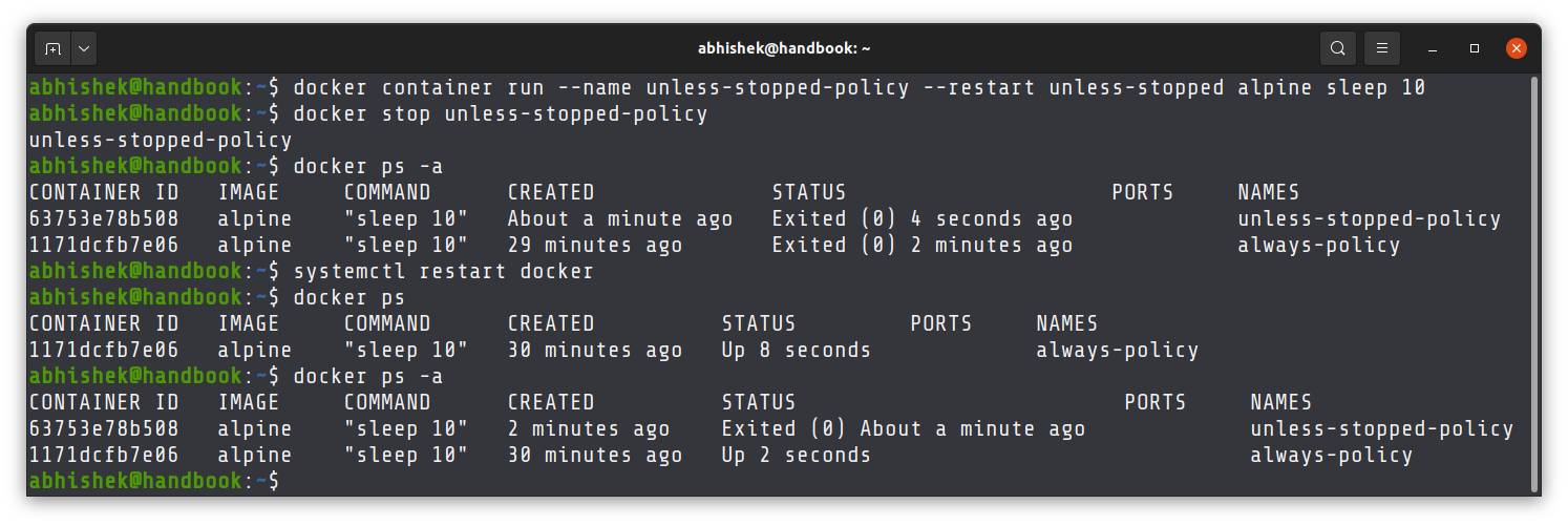 Difference between always and unless-stopped restart policies in Docker