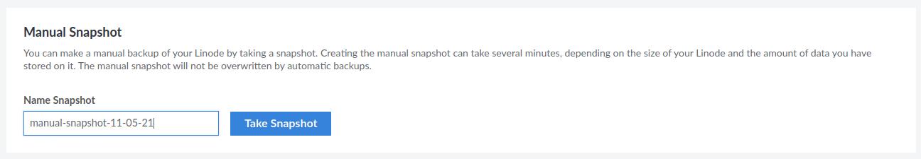 Creating manual snapshot for taking backup on Linode