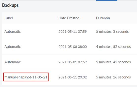 List of server backups on Linode
