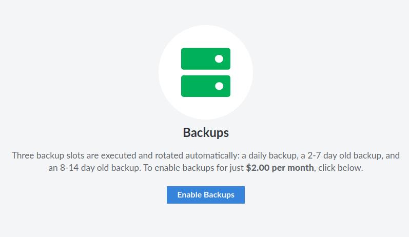 enable backups on Linode cloud server