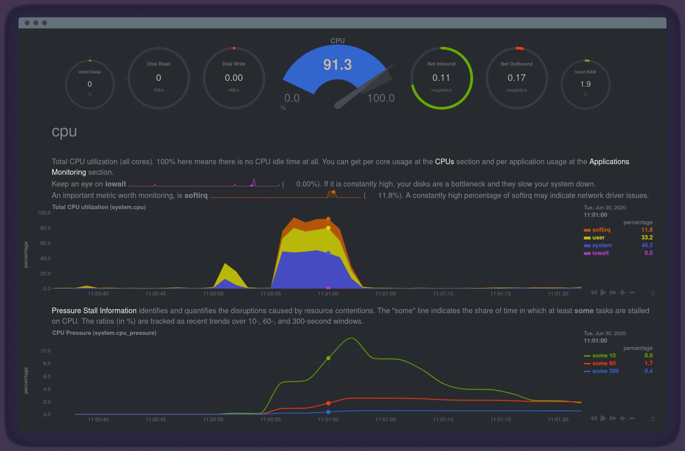 Netdata server monitoring tool