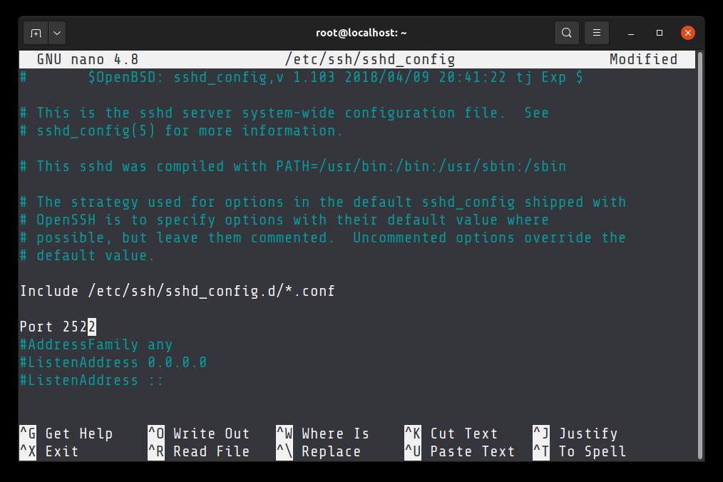 Change default SSH port