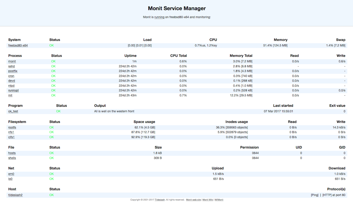 Monit Service Manager with Server specific stats in tabular format