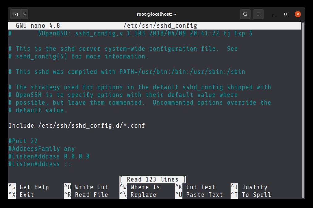 Default SSH port