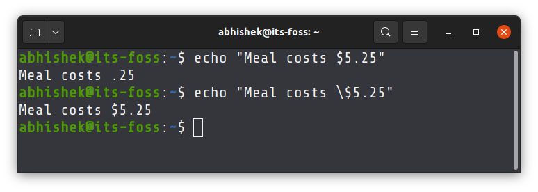Using backslash in double quotes