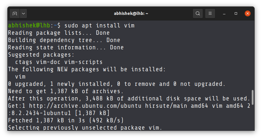 Installing Vim on Ubuntu