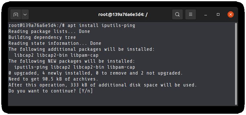 Installing ping command on Ubuntu