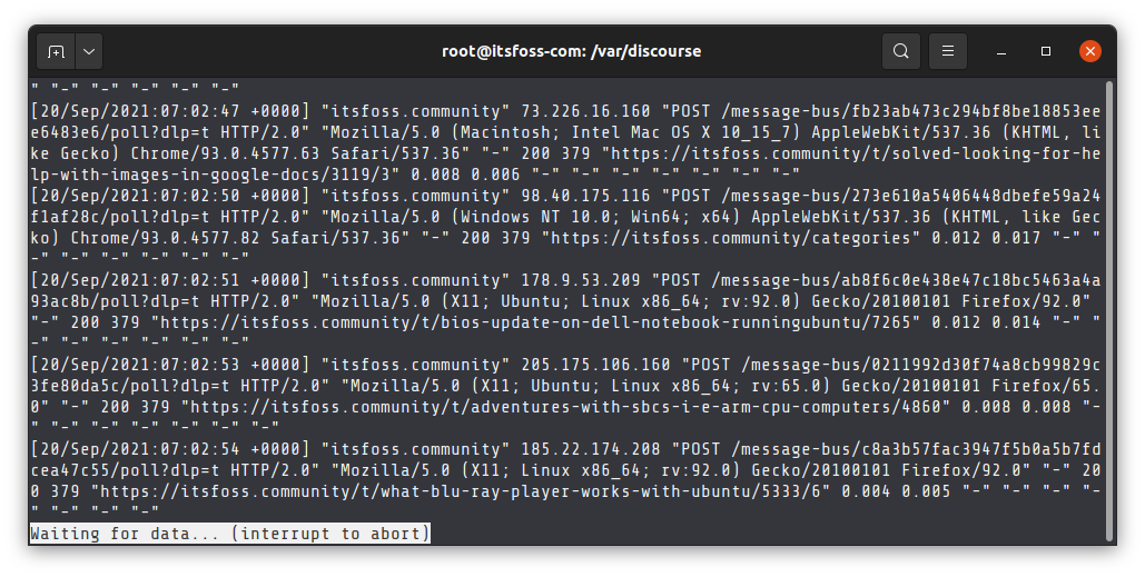 View log files in real time with the less command