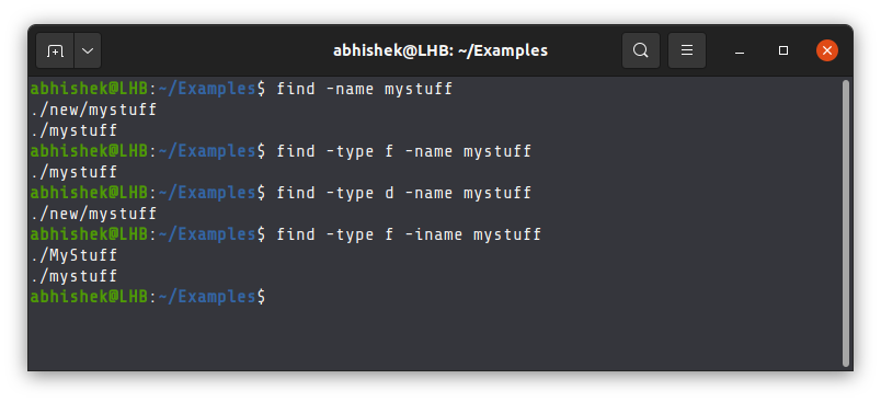 Simple examples of the find command