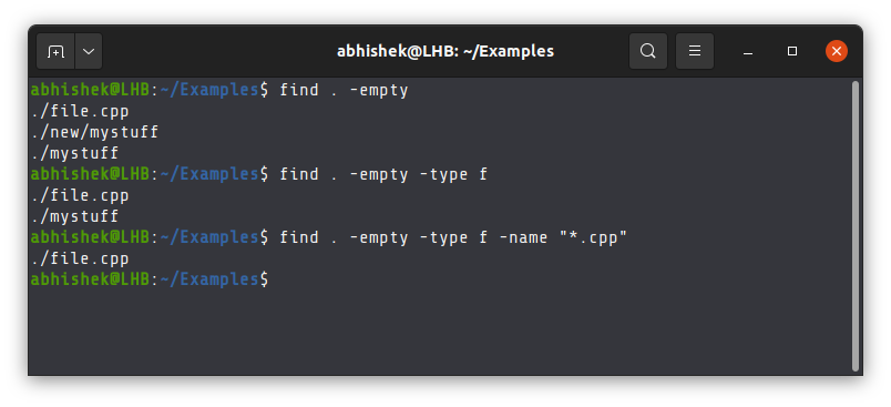 Finding empty files and directories with the find command