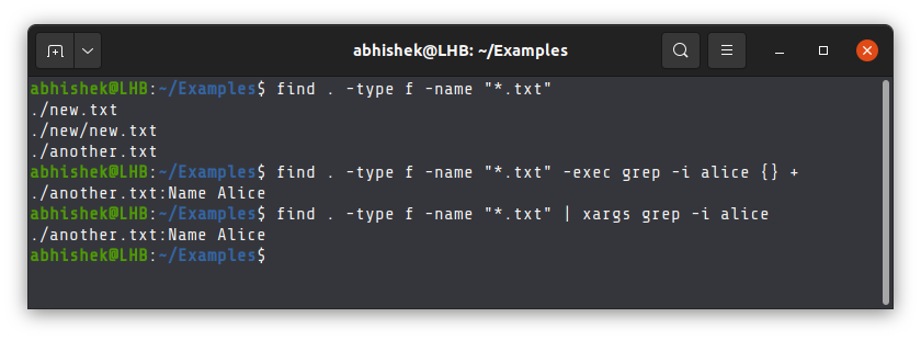 Find and grep example