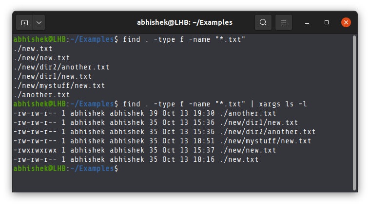 Example of find and xargs command